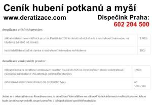 ceník likvidace hubení myší krys hlodavců potkanů Praha